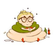 Funny Lazy Cartoon Girl. Vector Isolated Fat Person Sticker Stock Photography
