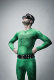 Funny lazy superhero looking up Royalty Free Stock Photography