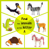 Funny learning maze game, find all 3 cute animals with the letter A, alligator, antelope, Armadillo. Vector Royalty Free Stock Photos