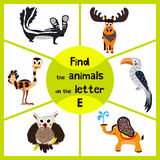 Funny learning maze game, find all 3 cute animals with the letter E, EMU, elephant, elk. Educational cranica for preschoolers. Vec. Tor illustration vector illustration