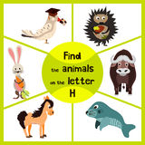 Funny learning maze game, find all of cute wild animals 3 the letter H, forest hedgehog and the hare, a horse farm home. Education. Al page for children. Vector Royalty Free Illustration