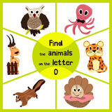 Funny learning maze game, find all 3 of cute wild animals to the letter O, sea dweller octopus, woodsy owl and sea shell. Educatio. Nal page for children. Vector royalty free illustration