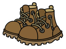 Funny leather boots. Hand drawing of funny leather boots Royalty Free Stock Image