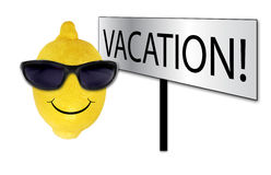Funny lemon in sunglasses on vacation Stock Images