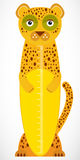 Funny leopard on white background Children height meter wall sticker, kids measure. Vector Royalty Free Stock Photo