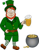 Funny leprechaun with beer and pot of coins Royalty Free Stock Image