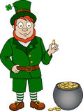 Funny leprechaun with coins Royalty Free Stock Images
