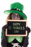 Funny Leprechaun girl holding a slate with text Happy St. Patric Royalty Free Stock Images
