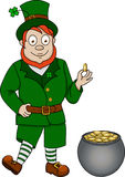 Funny leprechaun with pot of coins Stock Photos