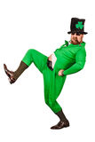 Funny Leprechaun smoking a cigar. Photo of a man in a Leprechaun costume being silly and smoking a cigar Stock Photos