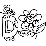Funny letters kids coloring page Royalty Free Stock Images