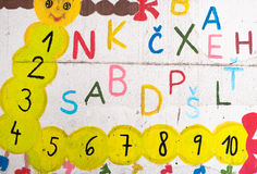 Funny letters and numbers on the wall Stock Photography
