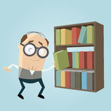 Funny librarian with a bookshelf Stock Image