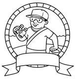 Funny lifeguard. Coloring book.  Emblem Stock Images