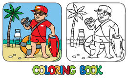 Funny lifeguard. Coloring book Stock Photography
