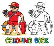 Funny lifeguard. Coloring book Royalty Free Stock Photo