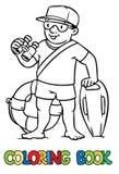 Funny lifeguard. Coloring book Stock Photo