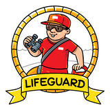 Funny lifeguard. Emblem. Profession ABC series Royalty Free Stock Photo