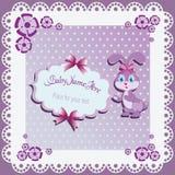 Funny lilac Bunny. stock illustration