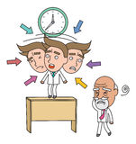 Funny line character illustration Business Story s Stock Photos