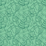 Funny line pictures seamless pattern blue Stock Image