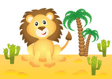 Funny lion in Africa. Funny smiling lion in Africa Stock Image
