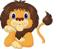 Funny lion cartoon relaxing Stock Image