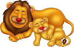 Funny lion cartoon sleeping with smiling and enjoy Vector Illustration