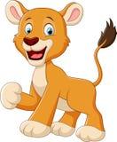 Funny lion cartoon waving Stock Images