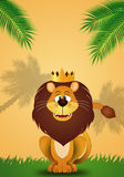 Funny lion with crown Stock Image