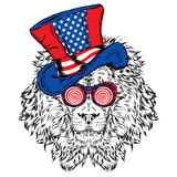 Funny lion in an unusual hat. Vector illustration. Royalty Free Stock Images