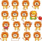 Funny lions (1). 16 smiley lions individually grouped for easy copy-n-paste. Vector Stock Images