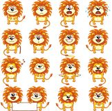 Funny lions (2). 16 smiley lions individually grouped for easy copy-n-paste. Vector Royalty Free Stock Images