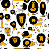 Funny lions, seamless pattern for your design. Vector illustration vector illustration