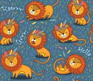 Funny lions seamless vector pattern with blue background. Lions seamless vector background. Cartoon lions, king of the jungle. Perfect for cards, invitations stock illustration