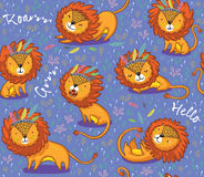 Funny lions seamless vector pattern with purple background. Lions seamless vector background. Cartoon lions, king of the jungle. Perfect for cards, invitations royalty free illustration
