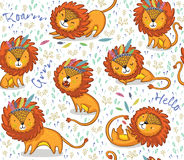 Funny lions seamless vector pattern with white background. Lions seamless vector background. Cartoon lions, king of the jungle. Perfect for cards, invitations royalty free illustration