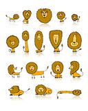 Funny lions set, sketch for your design. Vector illustration Stock Photography