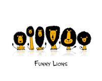 Funny lions, sketch for your design Stock Photo