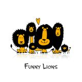 Funny lions, sketch for your design Stock Images