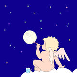 Funny little angel blow bubble as moon. On dark blue background funny little angel sit on cloud and blowing soap-bubble that look like moon. On cloud stands cup Stock Images