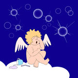 Funny little angel weep over soap-bubbles. On dark blue background funny little angel sit on cloud and weep over burst of soap-bubbles. Near on cloud are Royalty Free Stock Photography