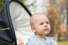 A funny little baby boy  in a in a baby carriage Stock Photo