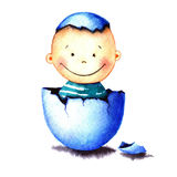 Funny little baby boy was born from an egg hatched. Newborn child watercolor illustration for greeting card, sticker Stock Photo