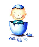 Funny little baby boy was born from an egg hatched. Newborn child watercolor illustration for greeting card, sticker Royalty Free Stock Photos