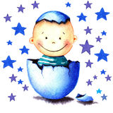 Funny little baby boy was born from an egg hatched. Newborn child watercolor illustration for greeting card, sticker Royalty Free Stock Images