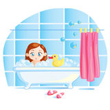 Funny little baby girl taking a bath Stock Photography