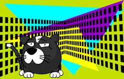 Funny Little ball cat cartoon background Royalty Free Stock Images
