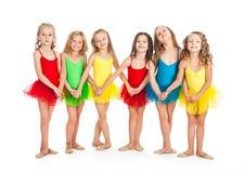 Funny little ballet dancers. Little girls ballet dancers on white background Stock Image