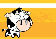 Angry little big head cow expression background Stock Photos